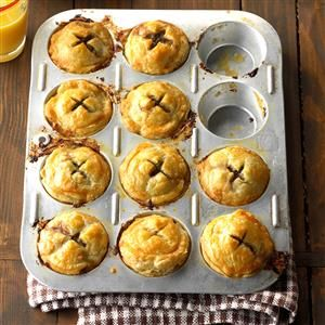 Mini Sausage Pies Recipe -The simple ingredients and family-friendly flavor of these little sausage cups make them a go-to dinner favorite. The fact that everyone gets their own pie makes them even better! —Kerry Dingwall, Ponte Vedra, Florida