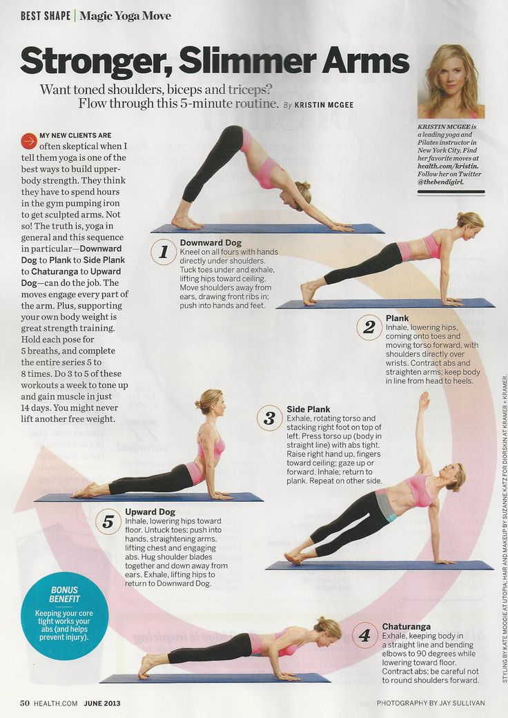 Great yoga workout that will strengthen your arms from Kristin McGee in Health magazine.