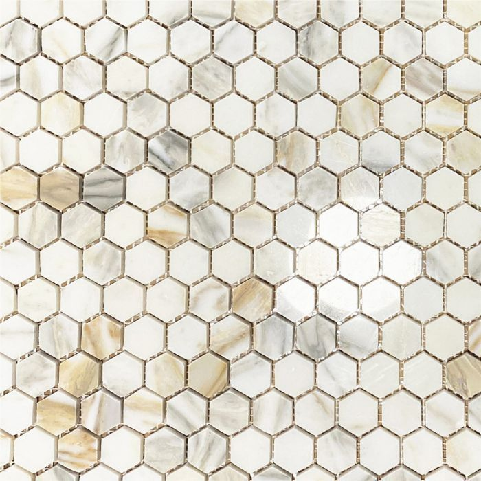 Calacatta Gold 1 Inch Hexagon Mosaic Tile Polished Marble From Italy In 2020 Hexagonal Mosaic Hexagon Mosaic Tile Mosaic Tile Kitchen