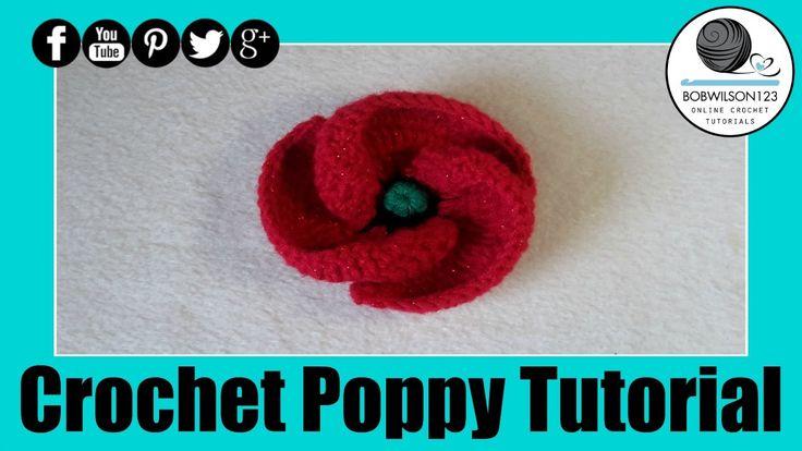 Crochet Poppy Design 3 of 3 Tutorial 500 Poppies Project