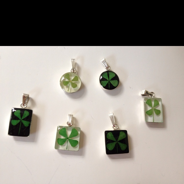 Real four leaf clover pendants are in!  www.goodwitchstudio.comFour Leaf Clover