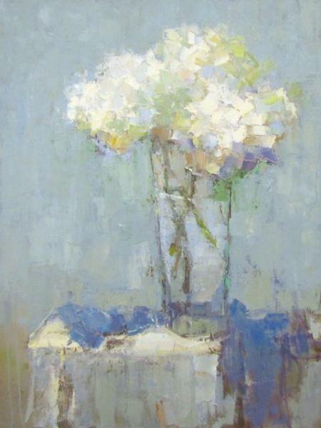 """Barbara Flowers, """"Hydrangea on Table"""", Oil on Canvas, 48x36 - Anne Irwin Fine Art"""