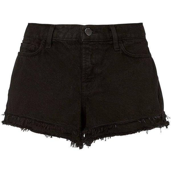 J Brand Women's Sachi Frayed Black Shorts (€125) ❤ liked on Polyvore featuring shorts, bottoms, black, short jean shorts, cotton shorts, denim shorts, zipper shorts and j brand