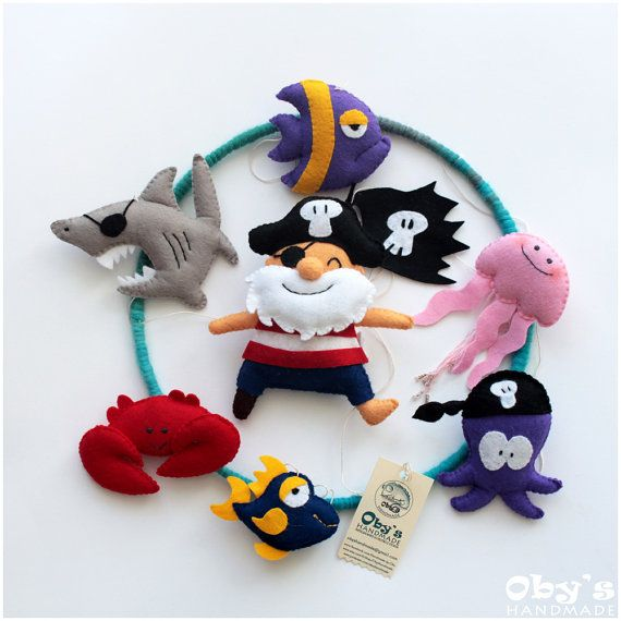 Baby mobile - Pirates Mobile - Nursery mobile - Custom crib mobile - Felt Pirate Octopus Shark Jellyfish Fishes Crab - Completely handmade