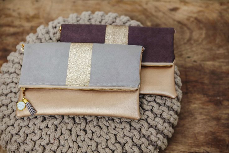 Pochettes en suédine et simili cuir doré madamezouzou.bigcartel.com