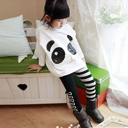 Amazon.com: Chinatera 2Pcs Kids Little Girls Cartoon Outfits Panda Coat Top + Striped Pants: Clothing