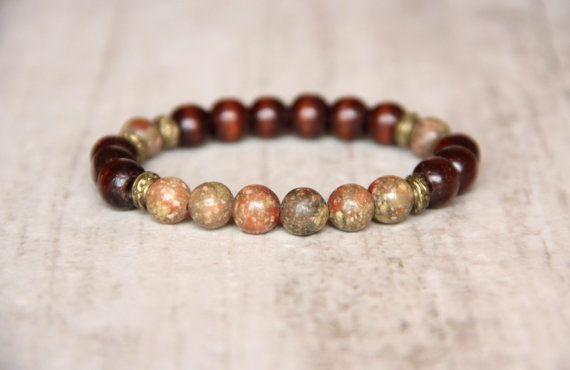 Wooden bracelet Jasper beads Unisex jewelry by AllAboutHandmade1