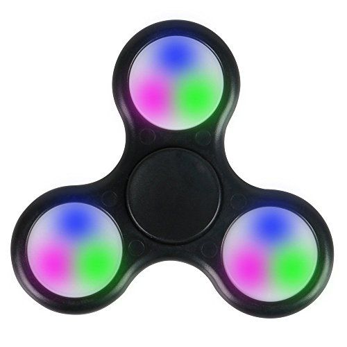 Tri Fidget Hand Spinner Ultra Fast Bearings Finger Toy Great Gift (Black LED Light)