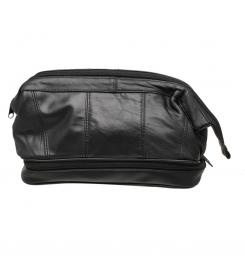 Black Lambskin Leather Gladstone Wash Bag... a classic, stylish and very functional!