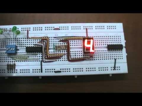 Circuito con decodificador 7447, y display siete segmentos, llamado Contador de 0 a 9. de BCD a Decimal.