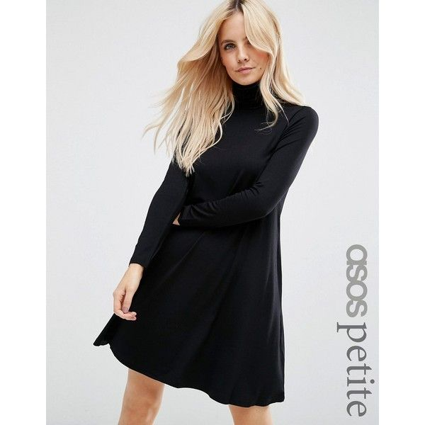 ASOS PETITE Swing Dress with Polo Neck & Long Sleeves (275 SEK) ❤ liked on Polyvore featuring dresses, black, petite, long sleeve mini dress, long-sleeve turtleneck dresses, long-sleeve mini dress, trapeze dress and turtleneck top
