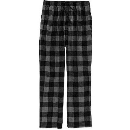 Faded Glory Men's Micro Fleece Plaid Pants, Black