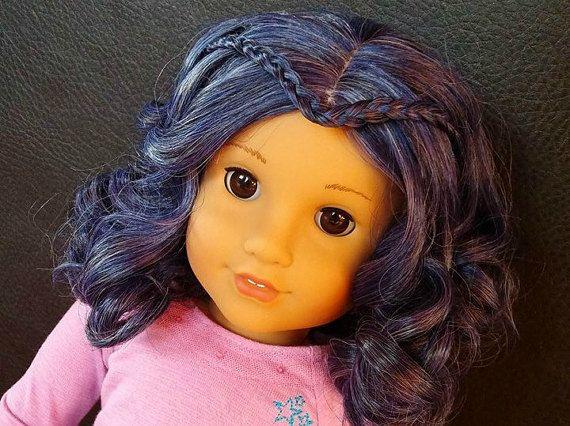 Custom American girl doll Descendants wig 18 by ZazouCustomDolls