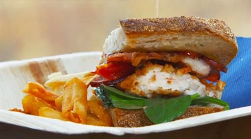 Crumbed chicken club sandwich with basil aioli and chips with lemon salt and rosemary | MasterChef Australia