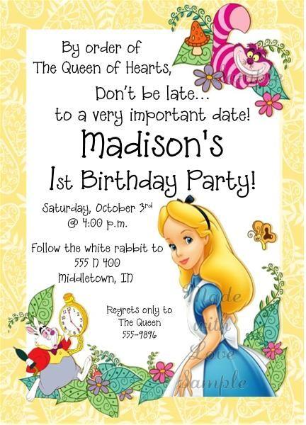 Alice in Wonderland Invitations   madewithloveinvite@sbcglobal.net