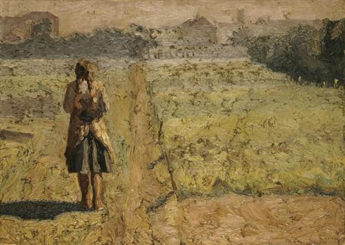 Girl in the vegetable garden - Emmanuel Zairis