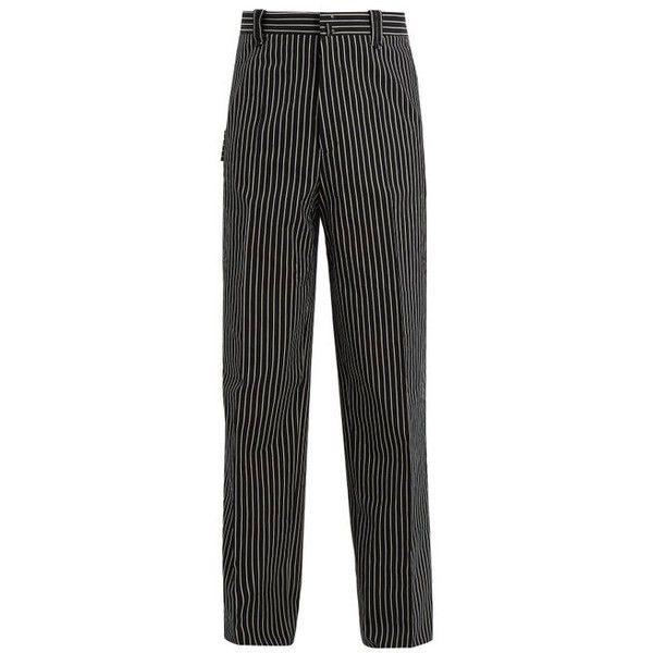 Lanvin Striped wide-leg trouser (19,395 THB) ❤ liked on Polyvore featuring men's fashion, men's clothing, men's pants, men's casual pants, black, mens cotton pants, mens wide leg pants, mens tuxedo stripe pants, mens striped pants and men's casual cotton pants