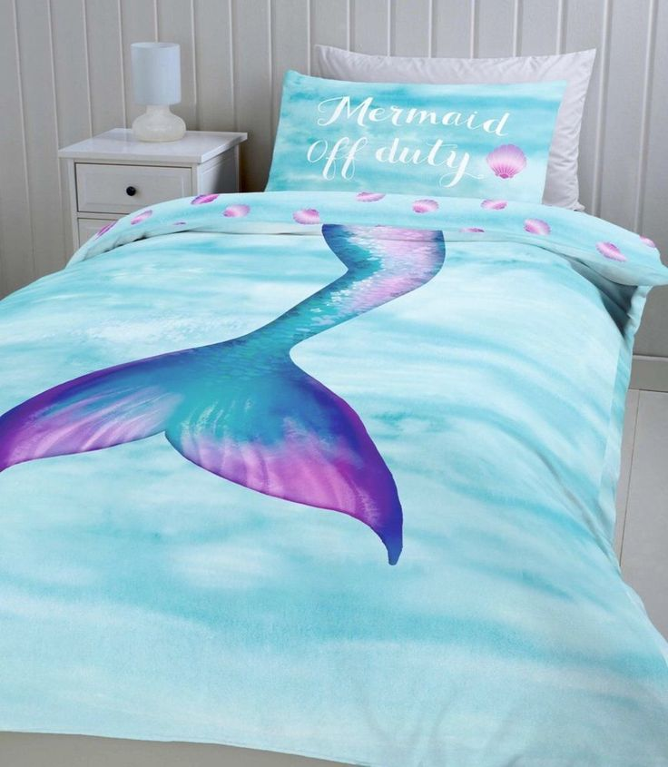 Mermaid Off Duty Blue Pink Purple Sea Shell Single Duvet Cover Pillowcase  Girl