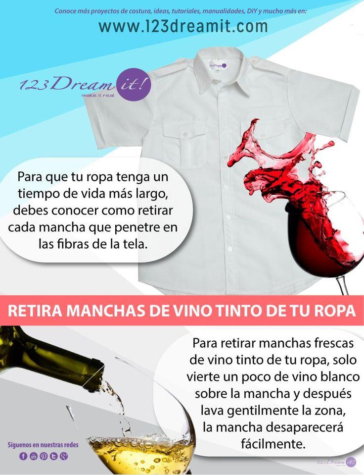 Si por accidente manchas alguna de tus prendas con un poco de vino tinto solo da click en la imagen para conocer como puedes retirar la mancha
