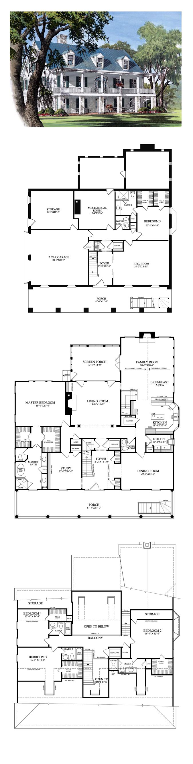 Plantation House Plan 86178 | Total Living Area: 4298 sq. ft., 5 bedrooms and 4.2 bathrooms. #plantationhome