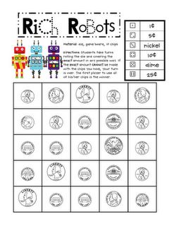 Free!!! Fun reinforcer & learning coins roll the dice game!!! Another activity my students will love cuz it is Robots!!!