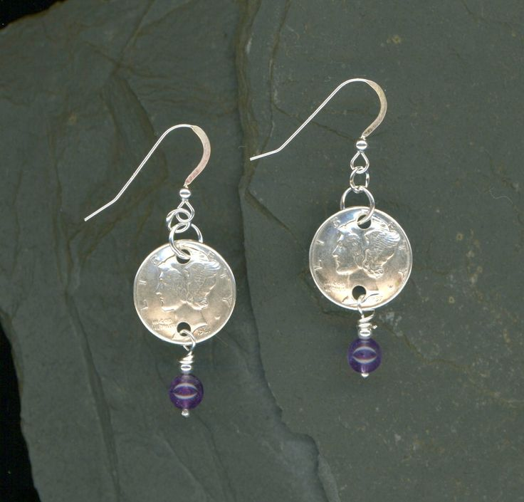 80th Birthday Gift 1937 Silver Dime Amethyst Earrings February Amethyst Birthstone 80th Birthday Gift Gift Coin Jewelry Gift For Women by WvWorksJewelry on Etsy