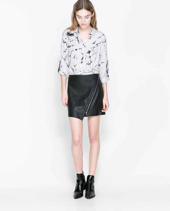 image 1 of faux leather skirt with zip from zara just