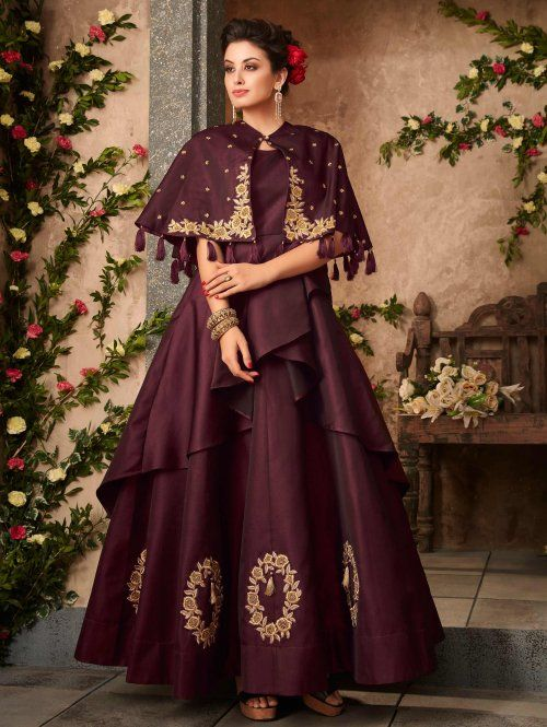 10643a3bba Wine Violet Empire Line Satin Silk Flared Gown with Tasseled Shrug Cape