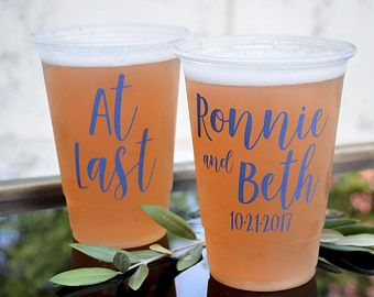 Plastic Wedding Cups Disposable Cups Soft Plastic Cups Personalized Cups Custom Cups Engagement Party Rehearsal Dinner Outdoor Wedding Decor