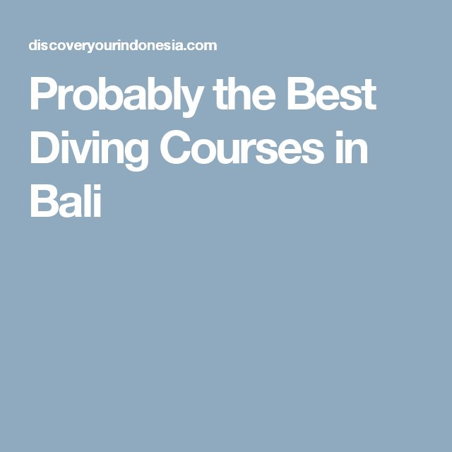 Probably the Best Diving Courses in Bali