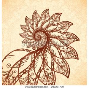 Fractal feathers spiral in henna tattoo style - Shutterstock