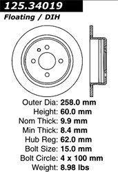 Stoptech 1991 BMW 318i 318is/ 1987-1991 BMW 325i 325is 325iX/ 1986-1988 BMW 325 325es/ 1984-1987 BMW 325e Rear Premium High Carbon Rotor