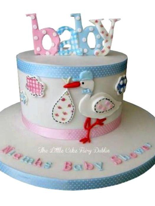 Stork Baby Shower Cake