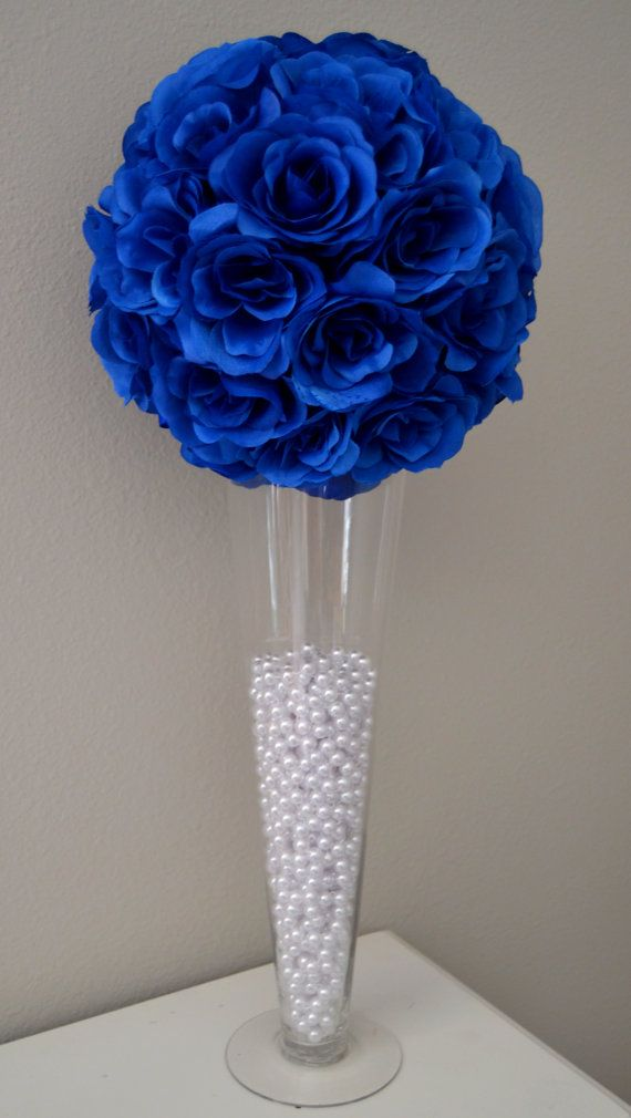 Royal blue elegant wedding flower ball by