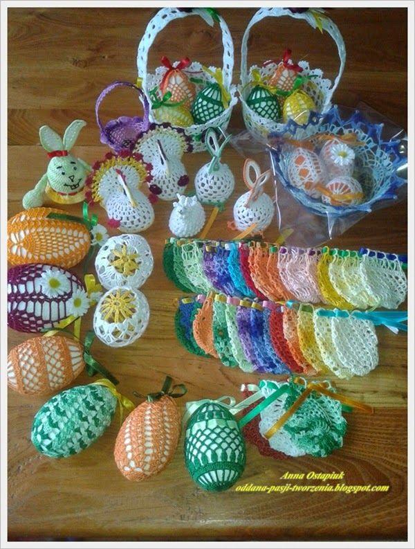 Oddana pasji tworzenia...: Wielkanocne szydełkowce - koszyczek z jajeczkami      ......       ......    IDEJE     ......     .....I