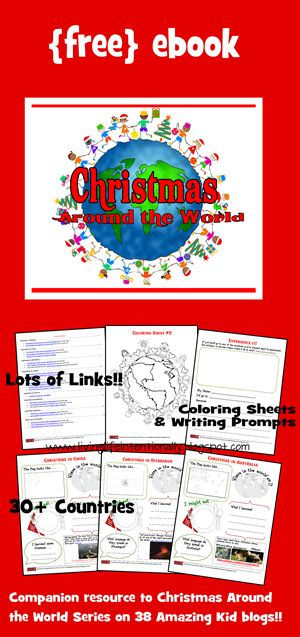 FREE Christmas Around the World ebook includes information, links, crafts, kids activities, and recipes from 30 countries around the world. THis is great for preschool or homeschool during the month of December