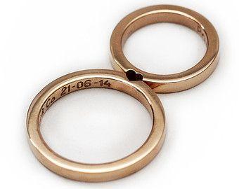 14 k anello nuziale in oro rosa insieme, promessa anello, anello di nozze per gli uomini, wedding band, amore anello, set di 2 anelli che rendono un cuore fedi nuziali,