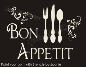 Sh98 STENCIL French Scroll Bon Appetit Fork Knife Spoon Eat Kitchen Signs