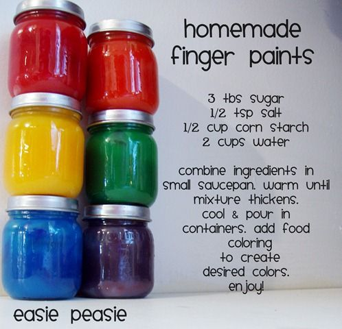 Homemade finger paints! Too cool.Ideas, Baby Food Jars, Kids Stuff, For Kids, Kids Crafts, Homemade Fingers Painting, Painting Recipe, Fun, Homemade Paint