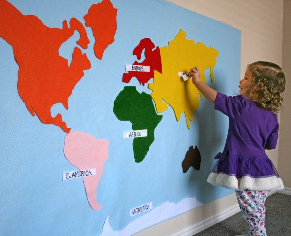 Felt Map of World Continents - FREE shipping. Kid & Baby Friendly. Montessori Colors, Includes Labels and hanging strips. 17 Pieces.