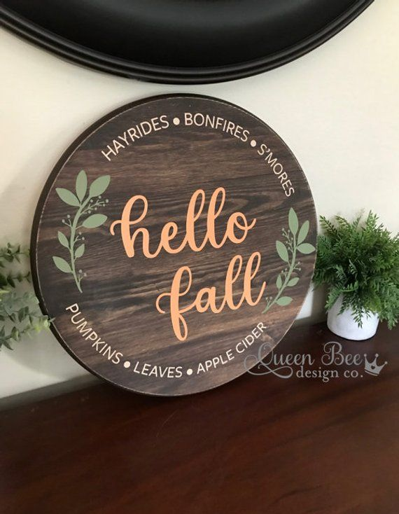 Hello Fall Wood Signwelcome Wood Signfall Signfall Decor