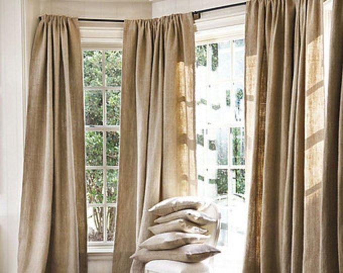 Natural arpillera ventana tratamientos cortinas 60 pulgadas ancho paneles, cortinas de arpillera, arpillera cortina
