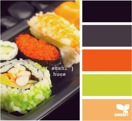 sushi hues: Color Palettes, Design Seeds, Color Inspiration, Color Schemes, Color Pallets, Sushi Hue, Blog Design, Kitchens Color, Rooms Color