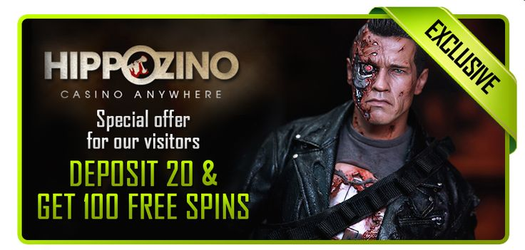Deposit 20 at Hippozino get 100 Free Spins on Terminator 2 slot! http://bit.ly/1rKmUMo