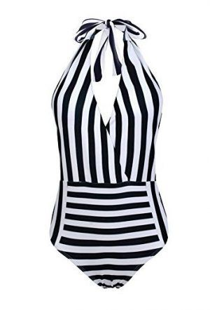 striped plunge cheap one piece swimsuit amazon