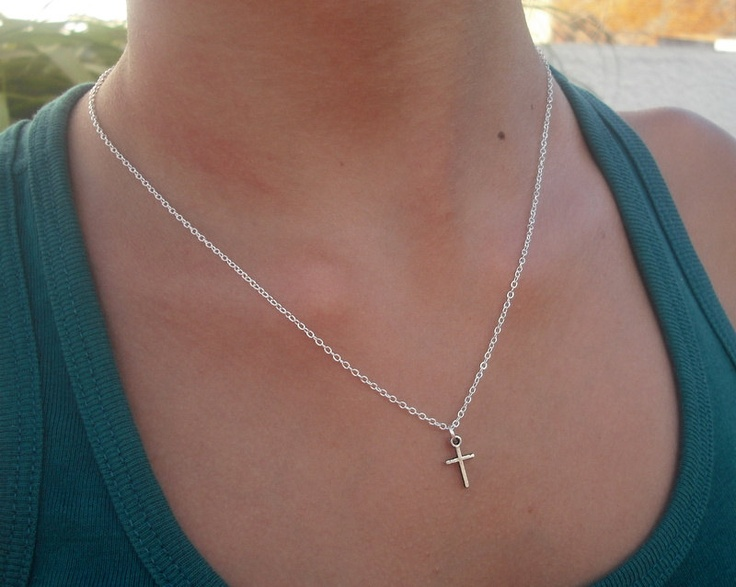 Dainty Tiny cross necklace, Silver cross necklace, Simple ...