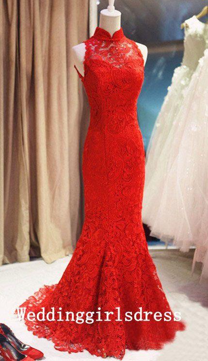 Custom High Neck Trumpet Mermaid Sleeveless Red Lace Train Long Dress Prom Dress Evening Dress Formal Dress Wedding Dress Bridesmaid Dress