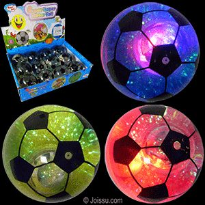 FLASHING SOCCER WATER BALLS. Bounce the ball and watch the lights inside flash. Batteries included. Assorted colors. Each dozen includes a display unit. Perfect for Easter basket toys, party favors and Christmas stocking stuffers.  Size 2.5 Inches, display unit 11.5 X 9.5 X 8 Inches