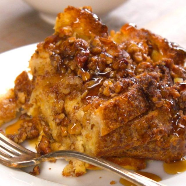 French Toast Bakewith pecan topping