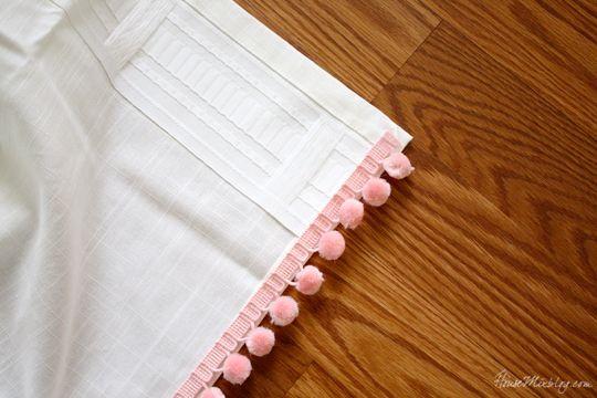 Ikea Ritva curtains with pom pom trim